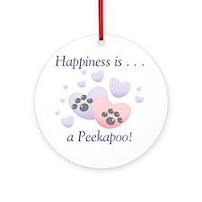Happiness is...a Peekapoo Ornament (Round)