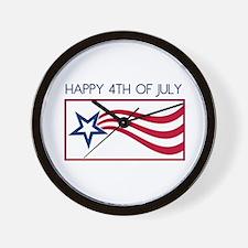 Happy 4th July Star Wall Clock
