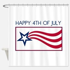 Happy 4th July Star Shower Curtain