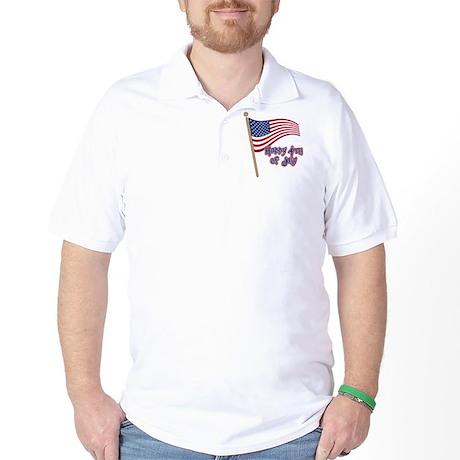 Happy 4th Flag Golf Shirt