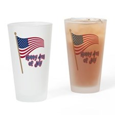 Happy 4th Flag Drinking Glass