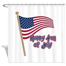 Happy 4th Flag Shower Curtain