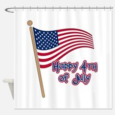 Happy 4th Flag Shower Curtain