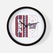 U.S.A. Happy 4th of July Wall Clock