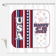 U.S.A. Happy 4th of July Shower Curtain