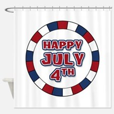 July 4th Round Shower Curtain