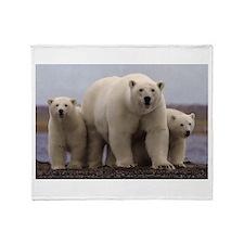 polar Bear Family Throw Blanket