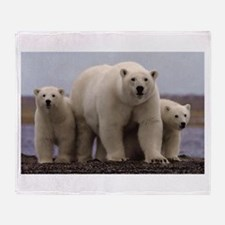 polar Bear Family Throw Blanket