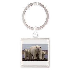 polar Bear Family Square Keychain