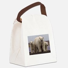 polar Bear Family Canvas Lunch Bag