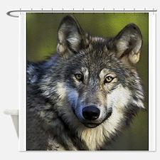 Lone Grey Wolf Shower Curtain