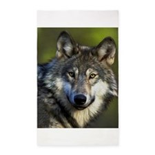 Lone Grey Wolf 3'x5' Area Rug