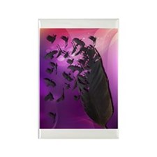 Crow Feather Purple Rectangle Magnet