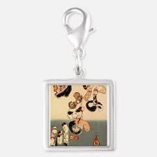 Japanese Cats Silver Square Charm