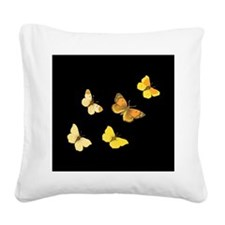 Yellow Butterflies Square Canvas Pillow