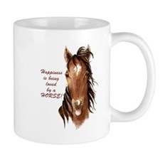 Happiness loved by a Horse Humorous Quote Small Mu