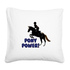 Cute Pony Power Equestrian Square Canvas Pillow