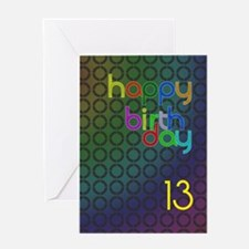 13th Birthday card for a man Greeting Card