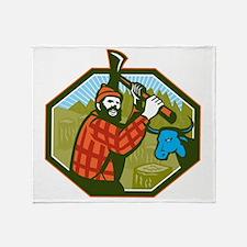 Paul Bunyan LumberJack Axe Blue Ox Throw Blanket