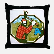 Paul Bunyan LumberJack Axe Blue Ox Throw Pillow