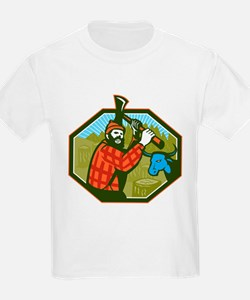 Paul Bunyan LumberJack Axe Blue Ox T-Shirt