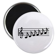 Black music notes clef Magnet