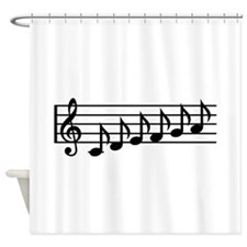 Black music notes clef Shower Curtain
