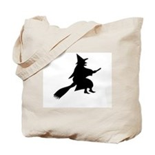 Halloween Witch And Broom Tote Bag