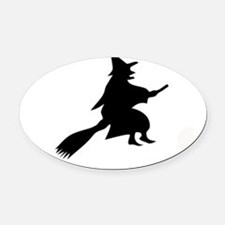 Halloween Witch And Broom Oval Car Magnet