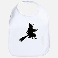 Halloween Witch And Broom Bib