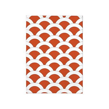 Orange White Scalloped Shells 5u0027x7u0027Area Rug