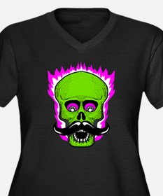 Hipster Mustache Flaming Skull Plus Size T-Shirt