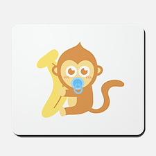 Cute Cartoon Baby Monkey with Banana Mousepad