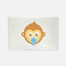 Cute baby monkey with blue pacifier Rectangle Magn
