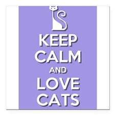 "Love Cats Square Car Magnet 3"" x 3"""