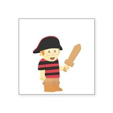 Cute Pirate Boy with Hat and Wooden Sword Sticker