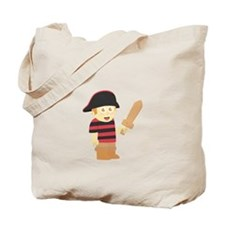 Cute Pirate Boy with Hat and Wooden Sword Tote Bag