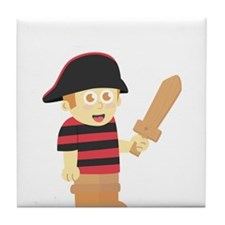Cute Pirate Boy with Hat and Wooden Sword Tile Coa