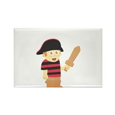 Cute Pirate Boy with Hat and Wooden Sword Rectangl
