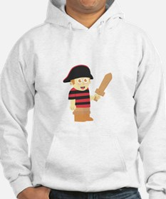 Cute Pirate Boy with Hat and Wooden Sword Hoodie
