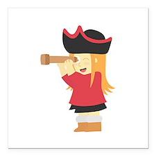 Cute Navigator Girl Pirate with Telescope Square C