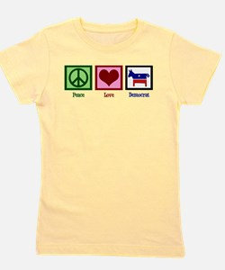 Peace Love Democrat Girl's Tee