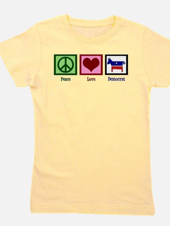 Peace Love Democrat Girl's Tee