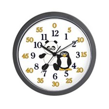 Easy read panda and penguin Wall Clock