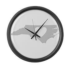 Heart North Carolina Large Wall Clock