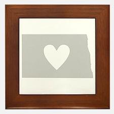 Heart North Dakota Framed Tile