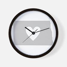 Heart North Dakota Wall Clock