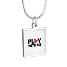 Play with me music Silver Square Necklace