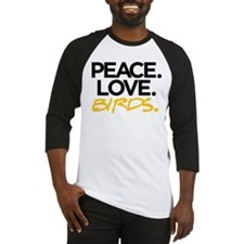 Peace. Love. Birds. (Black and Yellow) Baseball Je