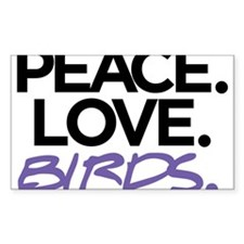 Peace. Love. Birds. (Black and Purple) Decal